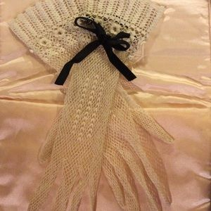 Vintage Antique 1900 Lace crochet Long Wrist Glove